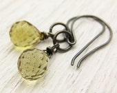 Whiskey Quartz Oxidized Silver Earrings: AAA Faceted citrus fruit lemon inspired summer fashion flawless