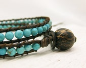 Turquoise Leather Wrap Bracelet with Coconut Wood 100% Silk / blue aqua teal / woodland tree inspired / fresh eco friendly