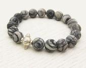Matte Picasso Jasper Bead Bracelet with Sterling Silver / Black & White / grey statement bracelet / modern swirl striped pattern