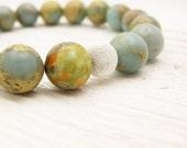 """Blue Bead Bracelet Beaded Blue Opal """"African Opal"""" Beaded Bracelet baby blue soft pale fall rust white"""
