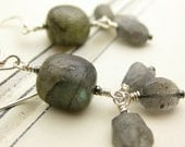 Labradorite and Sterling Silver Earrings / nautical ocean sea inspired / green blue