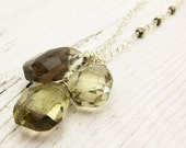 """Reserved for Ty / Citrine w/ Pyrite AAA Long Necklace """"Amanda"""" Smoky Quartz: flawless large stones bohemian yellow brown"""