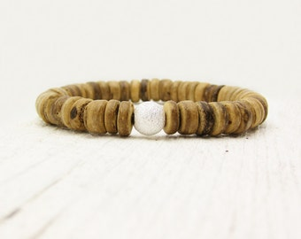 Coconut Wood Heishi Stacking Bead Bracelet & Solid Sterling Silver Stardust Ball / woodland nature forest inspired / brown natural simple