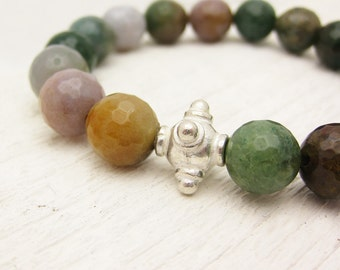 Fancy Jasper Bead Bracelet w/ Sterling Silver / faceted colorful earth tones multi color country rustic white color block