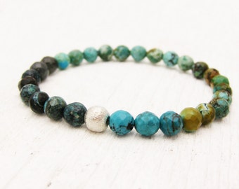 Natural Turquoise Bead Bracelet / Raw Untreated / Multicolored w/ Brushed Sterling Silver / bohemian tribal native american inspired