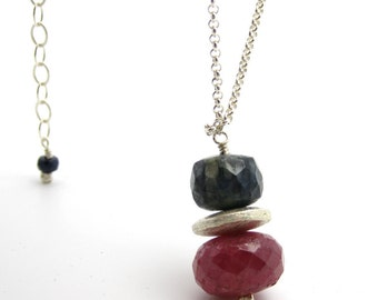Ruby & Sapphire Necklace in Sterling Silver: Red White Blue patriotic america