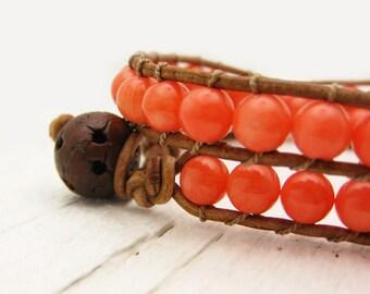 Tangerine Coral Eco Friendly Leather Wrap Bracelet / bohemian tribal ethnic bright colorful Autumn orange citrus color, tan brown, wood