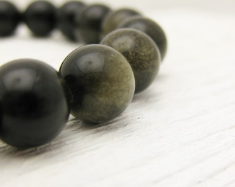 Black Obsidian Bead Bracelet with Sterling Silver : khaki olive white bohemian stacking / safari inspired