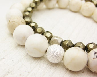 Pyrite & White Turquoise (Magnesite) Bead Bracelet Set / white fools gold rustic natural woodland golden stacking natural nature