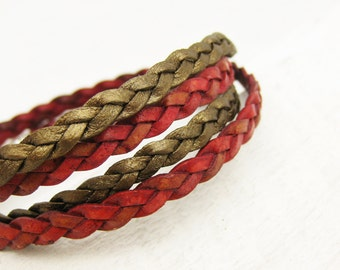 Red & Gold Braided Leather Wrap Bracelet Set with Solid Sterling Silver: layer bangle bohemian urban