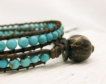 Turquoise Leather Wrap Bracelet with Coconut Wood 100% Silk / blue aqua teal / woodland tree inspired / fresh eco friendly