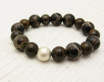 Tibetan Agate & Bronzite Beaded Bracelet with Brushed Solid Sterling Silver / brown safari turtle woodland inspired / organic stacking