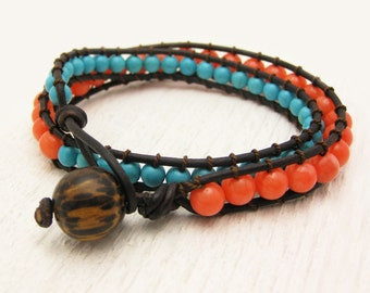 Turquoise with Tangerine Coral Leather 2x Wrap Bracelet / boho bohemian tribal ethnic / bright colorful stacking eco friendl