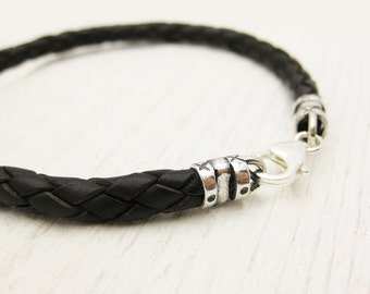Mens Bolo Braided Bracelet / Antiqued Brown Leather and Sterling Silver / men dude guy man / rustic rugged tough bohemian manly rocker style