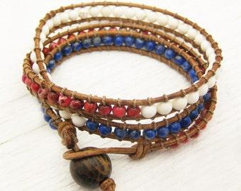 Patriotic Leather Wrap Bracelet / Red White Blue Jasper White Turquoise (magnesite) and Sodalite Gemstone / America flag stars stripes usa