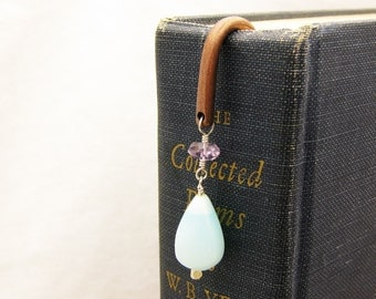 Gemstone Copper Bookmark / Peruvian Opal with Faceted Amethyst / for book reader, student, bookworm or teacher