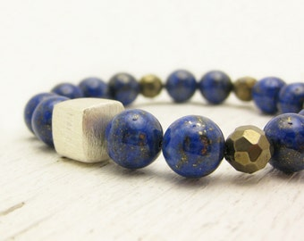 """Lapis Lazuli Pyrite Bracelet  """"Dream of Stars in the Night Sky"""" / fools gold natural gemstones sterling silver / bohemian fall fashion"""