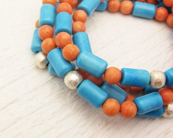 Orange & Blue Geometric Agate Bead Bracelet / bright colorful happy fiesta inspired / hippie bohemian summer fashion stacking bracelet