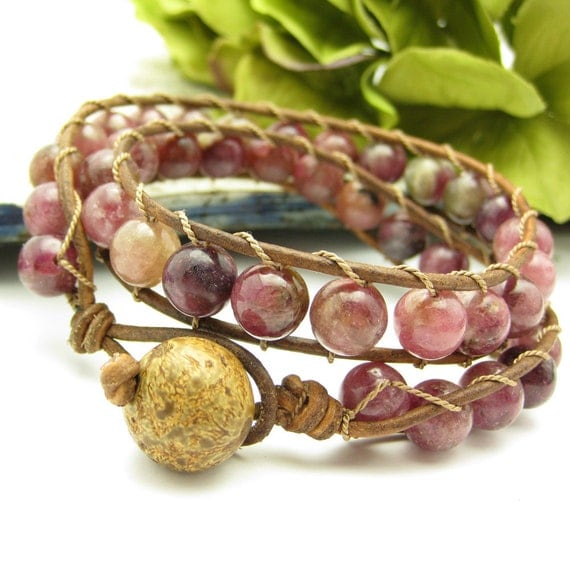 Leather Tourmaline Wrap Bracelet 2x wrap: for her gift bohemian under 150 125 holiday pink rustic country