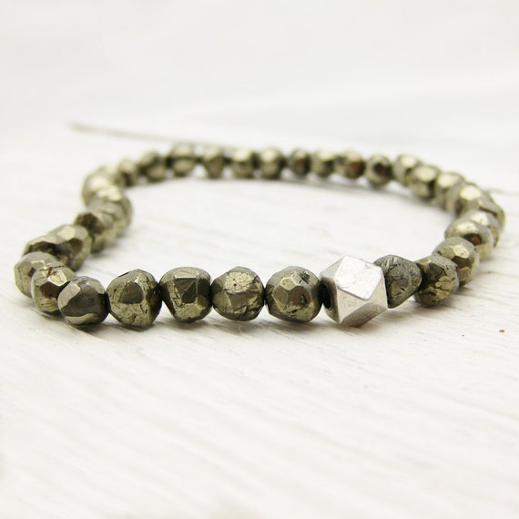 RESERVED FOR JANIE : Pyrite Bead Bracelet with Sterling Silver Nugget