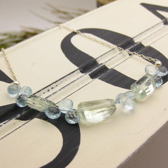 Swiss Blue Topaz and Green Amethyst Necklace in Sterling Silver