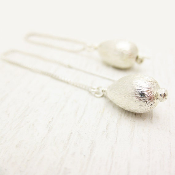 Silver Rain Drop Earrings / metallic cloud storm inspired / 100% Sterling Silver / dangle shiny box chain / teardrop white pale