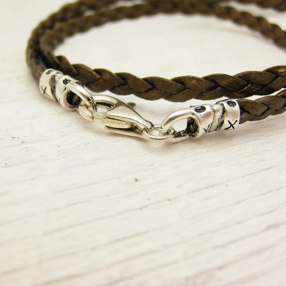 Gold Braided Leather Wrap Bracelet with Solid Sterling Silver: layer layering bangle golden bohemian urban hipster