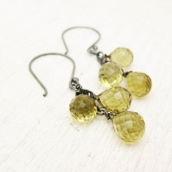 Whiskey Quartz Oxidized Silver Earrings / AAA Whiskey Quartz / lemon mustard color/ feminine dangle chandelier earrings
