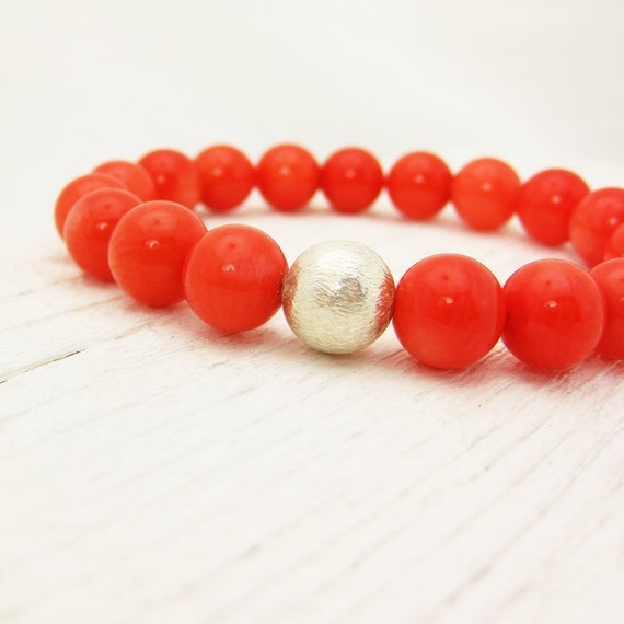Tangerine Coral Bead Bracelet / Tangerine Tango Inspired w/ Solid Sterling Silver Ball: orange colorful bright juicy citrus fresh