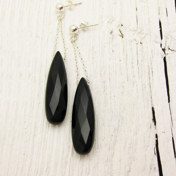 Black Onyx Earrings in Solid Sterling Silver / faceted drop dangle  / dreamy elegant / evening night inspired