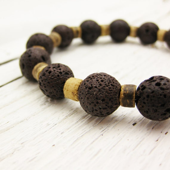 Lava Stone Bead Bracelet with Coconut Wood / chocolate & coffee color / bohemian brown stretchy
