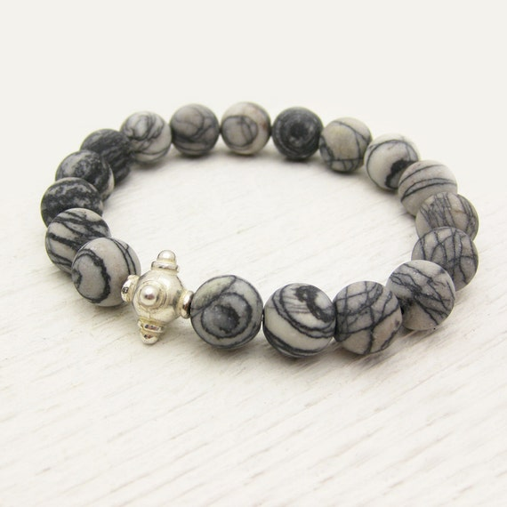 Matte Picasso Jasper Bead Bracelet with Sterling Silver / Black & White / grey statement bracelet / modern swirl striped pattern