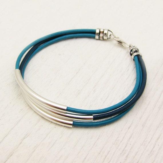 Turquoise Aqua Blue Leather & Sterling Silver Bracelet / unisex silver comfort natural  / geometric boho bohemian stacking bangle modern