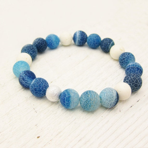 Matte Blue Agate with White Coral & Sterling Silver Stardust Bead bracelet / nautical ocean water sea waves inspired / colorful bright soft