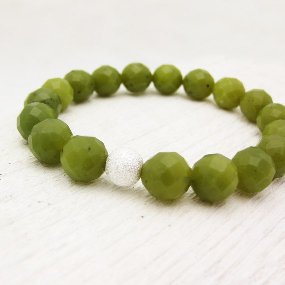 Bloodstone Bead Bracelet with Solid Sterling Silver Stardust Ball : faceted green fresh stacking lime fruit inspired