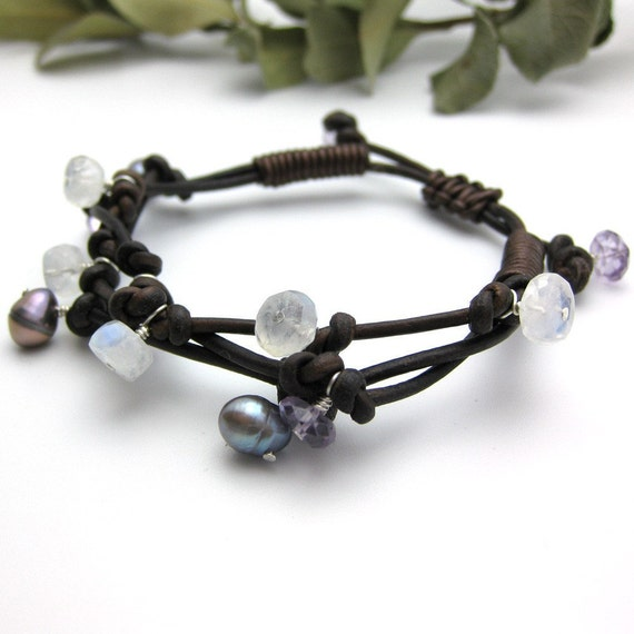 Amethyst Leather Knotted Bracelet with Moonstone and Pearl / casual / woodland nature twig inspired