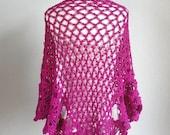 Fushia Floral Shawl-Wedding Scarf-Summer Fashion-Best Gift Idea-Romance Floral Shawl Whit Rozes
