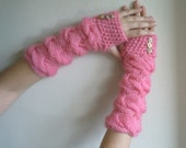Crocket Pink Fingerless Gloves for Women,Best Xmas&New Year Gift,Hight Fall Fashion,For The Preppy Ladies-Ready to ship