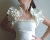 NEW NEW NEW-Ivory Wedding Stole&Shrug With Ivory Rose-Woman Stole-Bridal Fashion-Rose With Chrystal Button-2012 Fashion