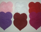 Be My Valentine -- 48 Felt Die Cut Heart Shapes -- Appliques Embellishments for Crafts Hair Bows Clippies Clips -- QUICK TO SHIP