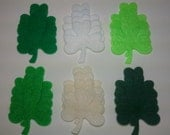 Luck of the Irish -- 24 Felt Die Cut Shamrock Shapes - Appliques Embellishments for Crafts Hair Bows Clippies Clips Brooches - QUICK TO SHIP