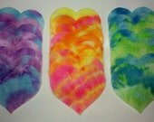 24 Tie Dye Felt Die Cut Heart Shapes -- Appliques Embellishments for Crafts Hair Bows Clippies Clips -- QUICK TO SHIP