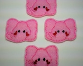 Machine Embroidered Felt -- Four (4) Pink Elephant Embellishments Appliques for Crafts Hair Bows Clippies Clips -- QUICK TO SHIP