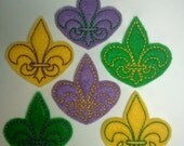 Machine Embroidered Felt -- Six (6) Fluer de Lis Mardi Gras Embellishments Appliques for Crafts Hair Bows Clippies Clips -- QUICK TO SHIP