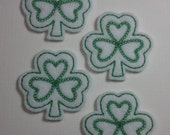 Machine Embroidered Felt -- Four (4) White with Green Shamrock Embellishments Appliques for Crafts Hair Bows Clippies Clips -- QUICK TO SHIP