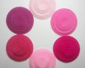 Pinks -- 72 Felt Die Cut Circle Shapes -- Appliques Embellishments for Crafts Hair Bows Clippies Clips Brooches -- QUICK TO SHIP