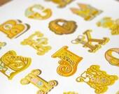 CLEARANCE. modern alphabet giclee print. 12X18. yellow.