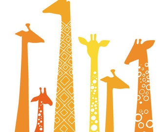 "5X7"" giraffes giclee print on fine art paper. orange & yellow."