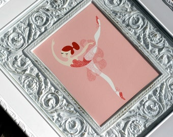 """8X10"""" ballerina arabesque giclée print on fine art paper. pink, redhead"""