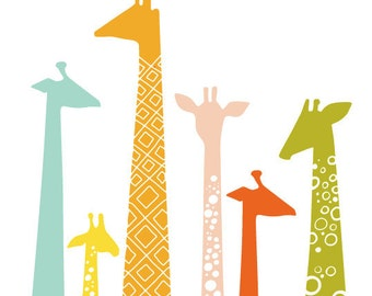 "16X20"" giraffe silhouettes giclée print on fine art paper. rainbow."